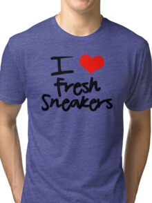 I Love Fresh Sneakers - Black Tri-blend T-Shirt