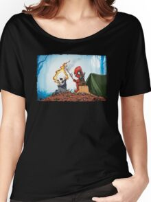 Ghostrider And Deadpool Go Camping Women's Relaxed Fit T-Shirt