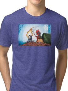 Ghostrider And Deadpool Go Camping Tri-blend T-Shirt
