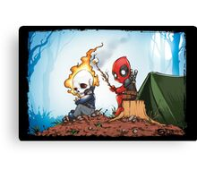 Ghostrider And Deadpool Go Camping Canvas Print