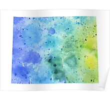 Watercolor Map of Wyoming, USA in Blue and Green - Giclee Print of My Own Watercolor Painting Poster