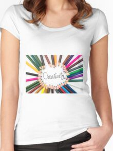 Colouring pencils in circle arrangement with message Creativity Women's Fitted Scoop T-Shirt