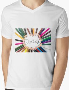 Colouring pencils in circle arrangement with message Creativity Mens V-Neck T-Shirt