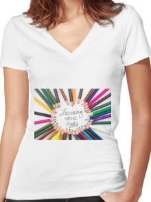 Learning Never Ends Women's Fitted V-Neck T-Shirt