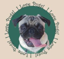 Cute I Love Pugs! T-Shirt or Hoodie by Patricia Barmatz