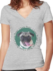 Cute I Love Pugs! T-Shirt or Hoodie Women's Fitted V-Neck T-Shirt