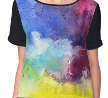 Watercolor Map of Wyoming, USA in Rainbow Colors - Giclee Print of My Own Watercolor Painting Chiffon Top