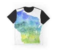 Watercolor Map of Wisconsin, USA in Blue and Green - Giclee Print of My Own Watercolor Painting Graphic T-Shirt