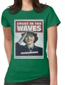 Vintage poster - Enlist in the Waves Womens Fitted T-Shirt