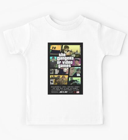 The Dangers of Video Games Poster Kids Tee