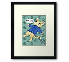 """thesweatercats """"Why?"""" Framed Print"""