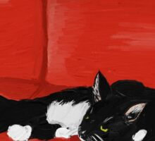 Cat on a Red Couch Sticker