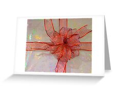 A Shiny Red Christmas Bow Greeting Card