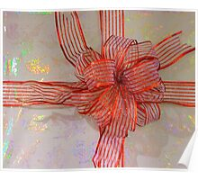 A Shiny Red Christmas Bow Poster