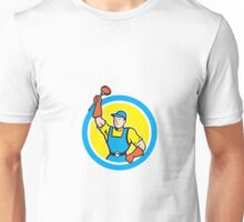 Super Plumber With Plunger Circle Cartoon Unisex T-Shirt