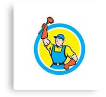 Super Plumber With Plunger Circle Cartoon Canvas Print