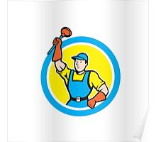 Super Plumber With Plunger Circle Cartoon Poster