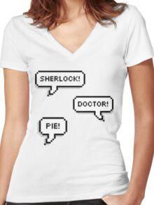 Sherlock Doctor Pie Women's Fitted V-Neck T-Shirt
