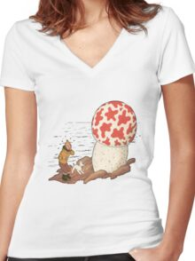 tintin the shoting star Women's Fitted V-Neck T-Shirt