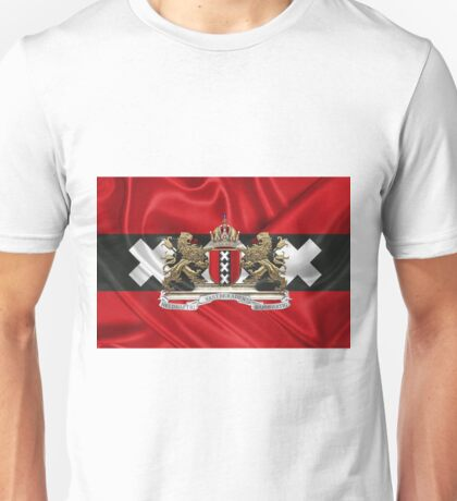Coat of arms of Amsterdam over Flag of Amsterdam Unisex T-Shirt