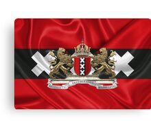 Coat of arms of Amsterdam over Flag of Amsterdam Canvas Print