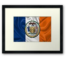 New York City Coat of Arms - City of New York Seal over NYC Flag  Framed Print