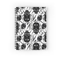 Black and White Beetle Pattern Spiral Notebook
