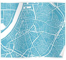 Antwerp Map - Baby Blue Poster