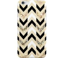 Black, White & Gold Glitter Herringbone Chevron on Nude Cream iPhone Case/Skin
