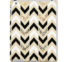 Black, White & Gold Glitter Herringbone Chevron on Nude Cream iPad Case/Skin