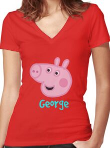 George Pig Women's Fitted V-Neck T-Shirt