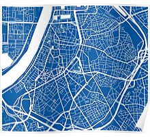 Antwerp Map - Deep Blue Poster