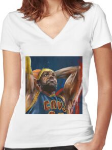 Lebron James Painting Women's Fitted V-Neck T-Shirt