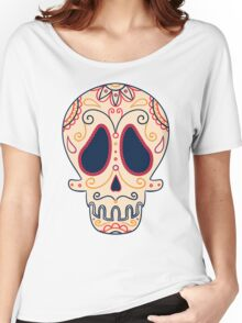 Hand Drawn Sugar Skull #trending // Girlish Day of the Dead  Women's Relaxed Fit T-Shirt