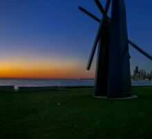 Windmill Sunrise over Chicago Sticker