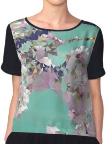 Meshed Up Japanese Sakura Blossoms Chiffon Top