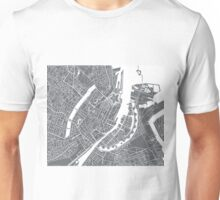 Copenhagen Map - Gray Unisex T-Shirt
