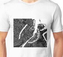 Copenhagen Map - Black Unisex T-Shirt