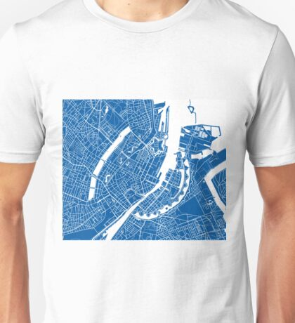 Copenhagen Map - Deep Blue Unisex T-Shirt