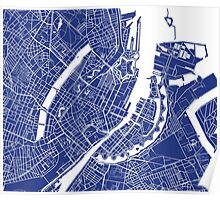 Copenhagen Map - French Blue Poster