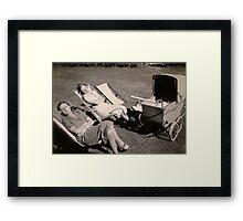 The relaxed attitude to parenting in the 1930s. Framed Print