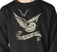 Love Vintage Old School Bird Tattoo (Black Background) #trending #tapestry #t-shirt Pullover