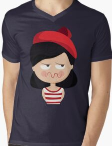 This French Girl. Oh la la. // Funny French Girl Emoticon Mens V-Neck T-Shirt