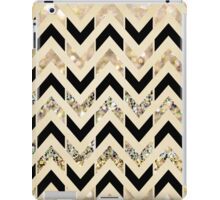 Black & Gold Glitter Herringbone Chevron on Nude Cream iPad Case/Skin