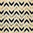 Black & Gold Glitter Herringbone Chevron on Nude Cream by Tangerine-Tane