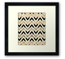 Black & Gold Glitter Herringbone Chevron on Nude Cream Framed Print