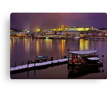 Winter nights in Prague Canvas Print