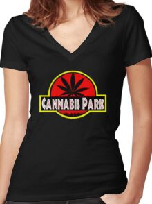 Cannabis Park Women's Fitted V-Neck T-Shirt