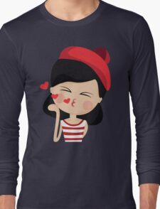 This French Girl Gives Air Kisses. So Girlish. #trending // Funny French Girl Emoticon Long Sleeve T-Shirt