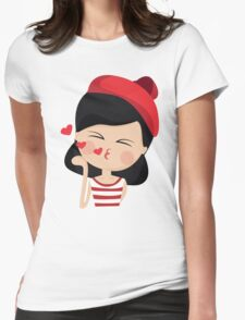 This French Girl Gives Air Kisses. So Girlish. #trending // Funny French Girl Emoticon Womens Fitted T-Shirt
